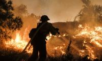 A firefighter battles a fire in California. The world is currently 1C warmer than preindustrial levels. Photograph: Ringo HW Chiu/AP - click for full size image